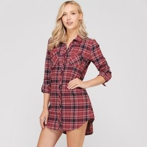 Love Tree Plaid Tunic Shirt Dress